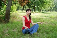 Woman meditation Stock Photo