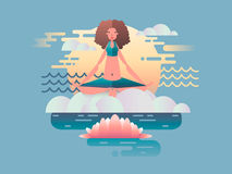 Woman meditation design flat Stock Images