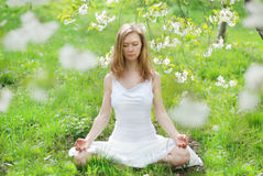 Woman meditation on green grass. At the spring garden Royalty Free Stock Images