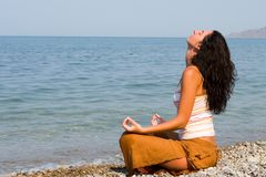 Woman Meditation In The Beach Royalty Free Stock Photo