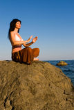 Woman Meditation In The Beach Royalty Free Stock Photos