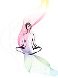 Woman meditation with moving line Royalty Free Stock Photos