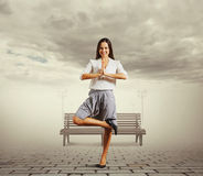 Woman meditation at outdoors Stock Photography