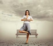 Woman meditation at outdoors Stock Photography