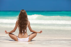 Woman Meditation At Tropical Beach Royalty Free Stock Image