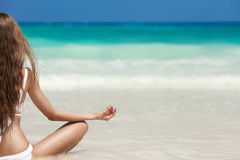 Woman Meditation At Tropical Beach Royalty Free Stock Photos