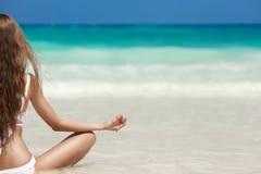 Woman Meditation At Tropical Beach. Young Woman Meditation At Tropical Beach Royalty Free Stock Photos