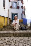 Woman in mediterranean town Royalty Free Stock Images