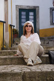 Woman in mediterranean town Stock Photography