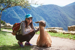 Woman meet lama in hiking trail Royalty Free Stock Photography