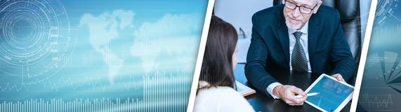 Woman meeting financial adviser in office; panoramic banner royalty free stock image