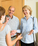 Woman meeting friends at the door Stock Photography