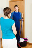 Woman meeting handsome cleaner Royalty Free Stock Images