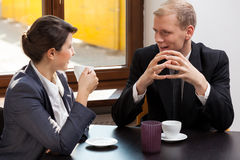 Woman meeting with man Stock Images