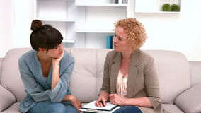 Woman in meeting with a psychologist stock video