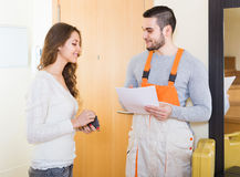 Woman meeting service worker Stock Image