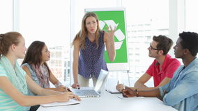 Woman meeting with team about environmental awareness. In their studio stock video