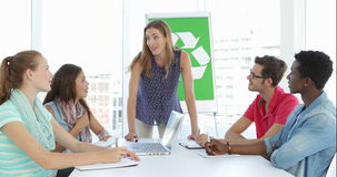 Woman meeting with team about environmental awareness stock footage