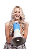 Woman with megafone Royalty Free Stock Image