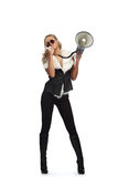 Woman with megafone Royalty Free Stock Photos
