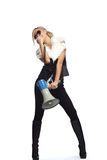 Woman with megafone Royalty Free Stock Photography
