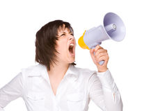 Woman With Megaphone. Full isolated portrait of a beautiful caucasian businesswoman shouting with a megaphone Royalty Free Stock Photo