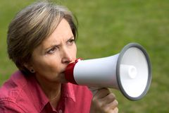 Woman and megaphone Royalty Free Stock Image