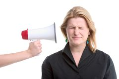 Woman and megaphone Royalty Free Stock Photography