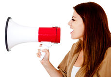 Woman with a megaphone Stock Photo