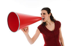Woman and Megaphone. Business woman with a red megaphone on white Stock Photo