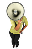 Woman With Megaphone. Woman Using megaphone hiding face from a high view Stock Photos