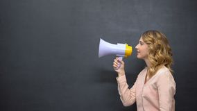 Woman with megaphone announcing motivational tips, search for job candidates