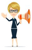 Woman with Megaphone. Stock Images