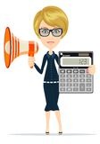 Woman with megaphone and calculator Royalty Free Stock Photo