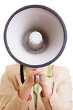 Woman with megaphone head Royalty Free Stock Photo