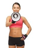 Woman with megaphone. Picture of beautiful sporty woman with megaphone Royalty Free Stock Photo