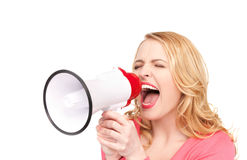 Woman with megaphone. Picture of woman with megaphone over white Stock Images