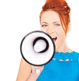 Woman with megaphone Stock Photography