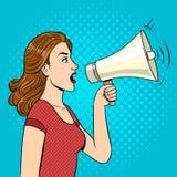 Woman with megaphone pop art style vector. Illustration. Human illustration. Comic book style imitation. Vintage retro style. Conceptual illustration Stock Image
