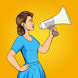 Woman with megaphone pop art style vector Royalty Free Stock Photography