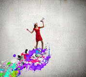 Woman with megaphone Royalty Free Stock Photos