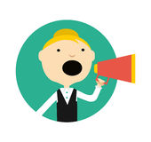 Woman with megaphone round avatar icon Stock Photography