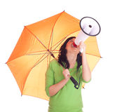 Woman with megaphone and umbrella Royalty Free Stock Image