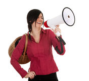 Woman  with megaphone and wicker basket Stock Images