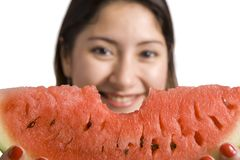Woman with melon Stock Images
