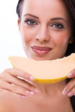 Woman with melon Royalty Free Stock Photography