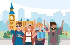 Woman and men with backpack to travel in big ben destination vector illustration