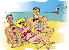 Woman with men on beach. Illustration of happy woman with muscular men on the beach Stock Photo