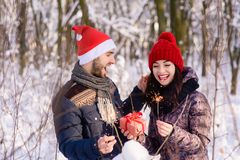 Happy couple in love in winter royalty free stock photo