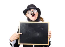 Crazy teacher with blackboard Stock Images